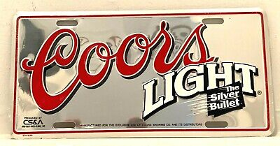 Coors Light The Silver Bullet License Plate NOS in plastic