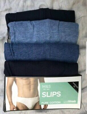 M&S Collection Mens Blue 4 Pack Cool Fresh Stretch Cotton Slips Briefs Size XXL