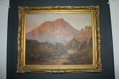 """""""Crofts of Skye"""" Beautiful signed 1937 Antique Scottish Oil Painting Scotland"""