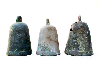 1700's  Antique Islamic Middle Eastern Set of 3 Brass Donkey Bells