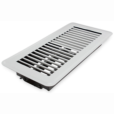 "Deflecto Floor Vent Register, 4"" x 10"", White RGFW104"