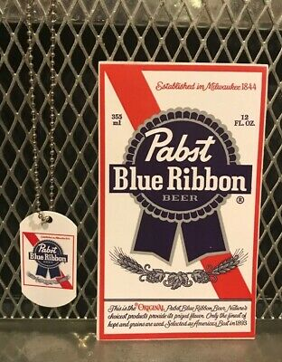 PBR PABST BLUE RIBBON Beer ~ NEW ~ Dog Tag w Chain Necklace & FREE STICKER