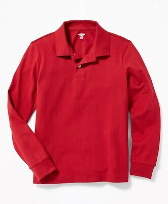 NEW Old Navy Boys Pique Polo Long Sleeve Red School Uniform Casual Shirt Large