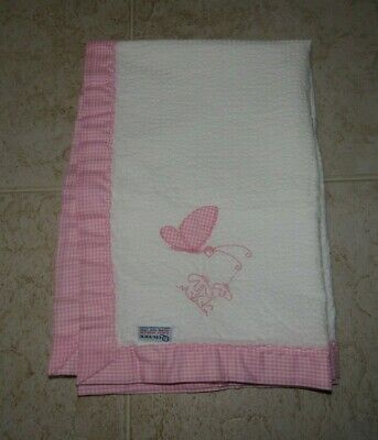 Quiltex Baby Blanket 40X30 White with Pink Gigham Trim Butterfly ILGWU Made USA