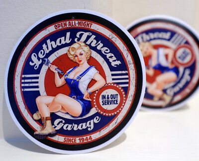 "Lethal Threat Garage Vintage Pin Up Hot Girl Retro Art 4"" Decal Sticker #3299"