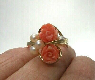 Sz 7.5 Solid 14K Yellow Gold Ring Pink Angel Skin Coral White Pearl Rose Flower