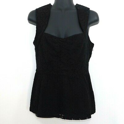 Girls From Savoy Anthropologie Womens Black Sleeveless Lace Blouse, Size 2