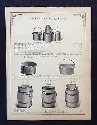 1888 Vintage Simmons Hardware Catalog Pg ~ Iron Buckets & Measures ~ Hay Knives