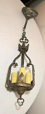 antique ornate patinated cast iron Gothic electric chandelier hanging fixture