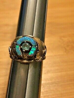 Librum De Vivens Mortua, sterling and gold ring, Opal size 8 D