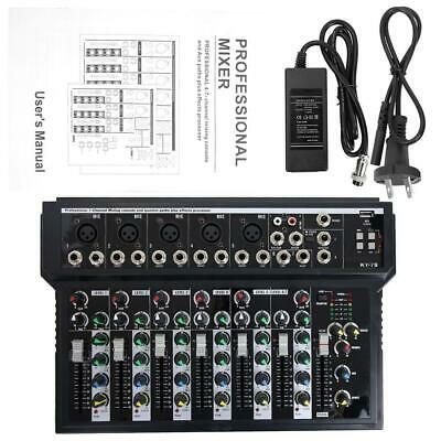 Professional 7 Channel Line Live Mixing Studio Audio Sound Mixer Console US Plug