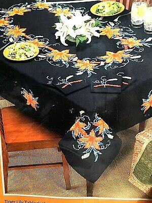 """Herrschners  TIGER LILY TABLECLOTH - Stamped cross stitch  #100546 60"""" x 104"""""""