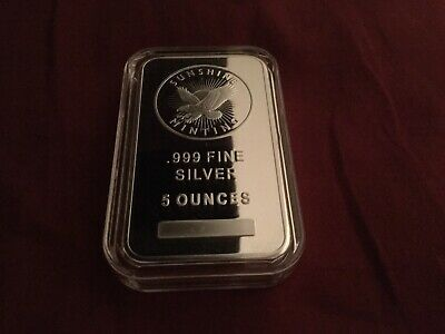 5 Oz. Silver Bar ~ SUNSHINE MINTING ~~~  .999 Pure Silver = 5 Ounce