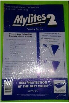 50 Pack Gerber Mylites 2 Mil Mylar Silver & Golden Age Comic Book Bags 775M2