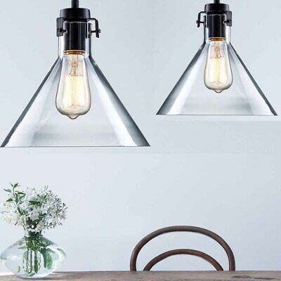 2 x Modern Vintage Industrial Glass Ceiling Lamp Shade Pendant Light Kitchen AU