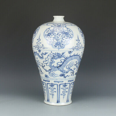 Chinese Old Blue and White Dragons Pattern Porcelain Prunus Vase