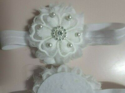 PREEMIE  HEADBANDS  PRETTY  FLOWER PEARLS AND STONES TINY BABE with FOEspecial