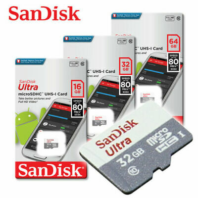 SanDisk Ultra New 16GB 32GB 64GB micro SD HC Flash Memory Card 80MB Class10