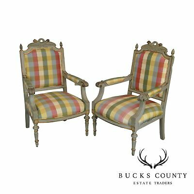 French Louis XVI Vintage Pair Custom Quality Painted Fauteuils Armchairs