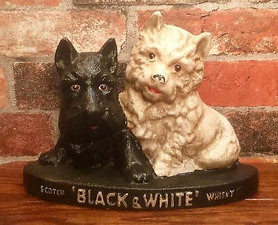 Black & White Scotch Whisky Scottie Scottish Terrier Dogs Vintage Door Stop