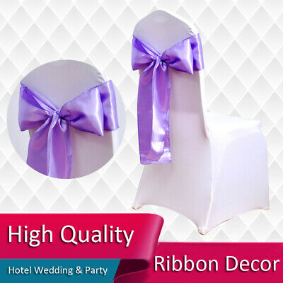 Satin Chair Cover Tie Sashes Fuller Bow-Knot Ribbon Wedding Banquet Party Decor