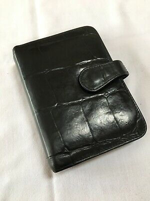 Organiser/Filofax-Rare Mulberry Black Croc Print Leather Pocketbook-Beauty