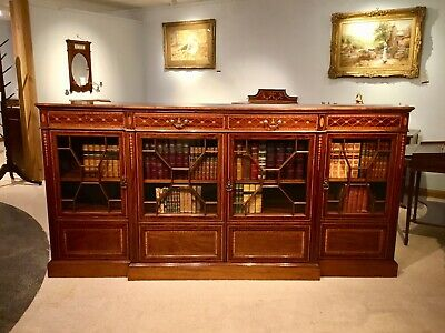 A superb quality mahogany inlaid Edwardian Period breakfront bookcase by Shoolbr