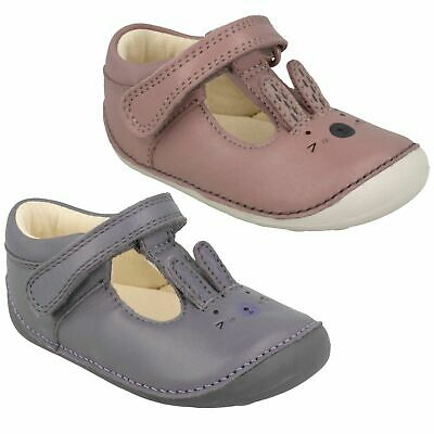 Girls Toddler Clarks Little Glo Hook & Loop Casual Leather First Shoes Size Kids
