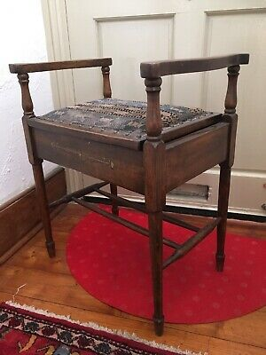 Antique Tapestry Piano Stool Edwardian Victorian Dressing Table