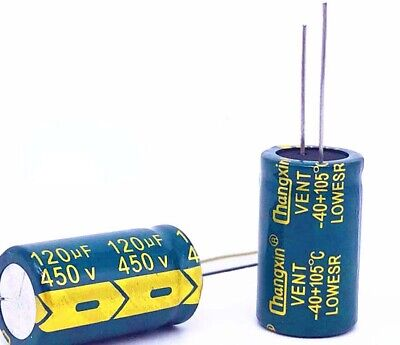 2PCS 450V 120uF Radial Electrolytic Capacitors For PCB/LCD Mount 105°C 18x30mm