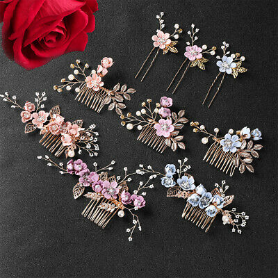 Bride Hair Jewelry  Flower Hair Pin  Hair Combs Leaves Tiara  Bridal Clips