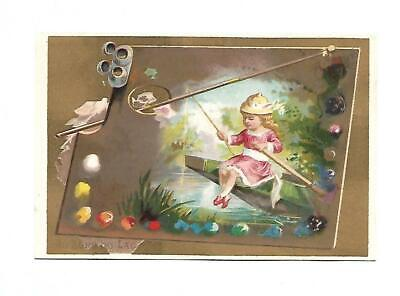 Painting Palette Girl Bow Boat AU BORD DU LAC No Advertising Vict Card c1880s