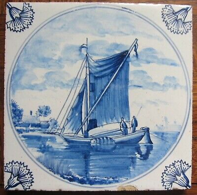 Antique Delft tile with ship - 19th century
