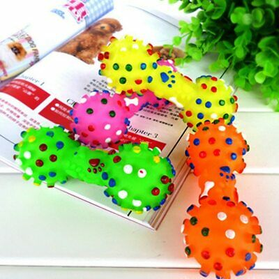 Lovely Pet Dog Puppy Cat Chews Toy Rubber Bone Squeaker Squeaky Sound Play Toys