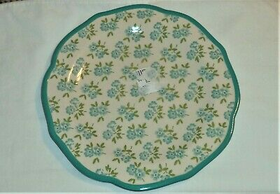 """Pioneer Woman Fall Flower Teal Scalloped ONE Salad Plate 8-1/2"""" Round Stoneware"""