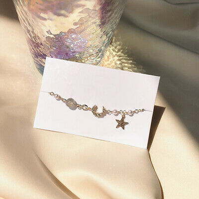 Simple Moon Star Imitation Pearl Alloy Bracelets Fashion Woman jewelry