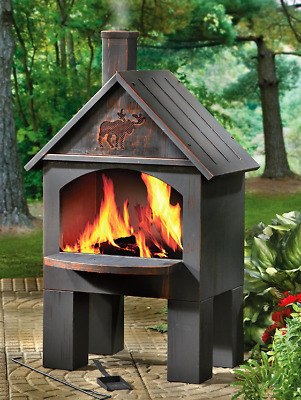Cabin-Style Cooking Outdoor Cast Iron Chiminea Patio Fireplace Outdoor Fire Pit