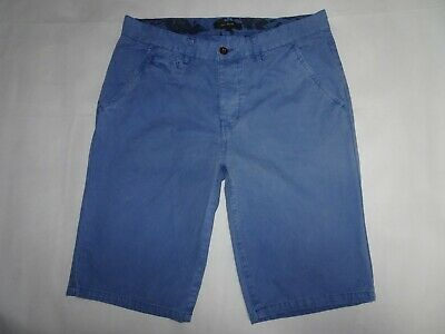 RIVER ISLAND Mens Chino Shorts Blue Cotton Chinos 5 Pocket SIZE W32 Waist 32""