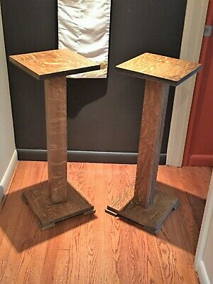MISSION QUARTER SAWN OAK matching Plant Stands (SET OF TWO)  Stickley-StyleM