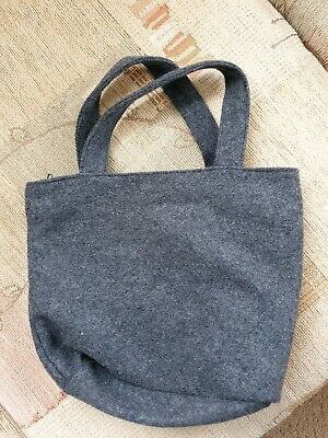 Ladies, girl Grey wool mix small handmade Bag vintage style, arts & crafts