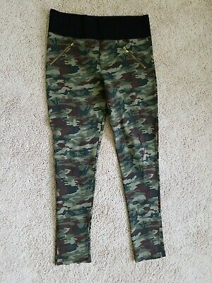 SHINESTAR Camo Pants Wide Elastic Waist  band leggings stretch pant Zipper ankle