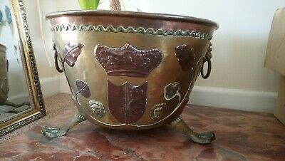 Antique Arts And Crafts Style Brass and Copper Plant Pot, Log, coal bucket