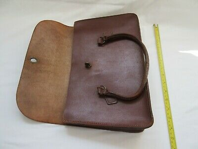Old used small brown leather satchel document bag for display  prop