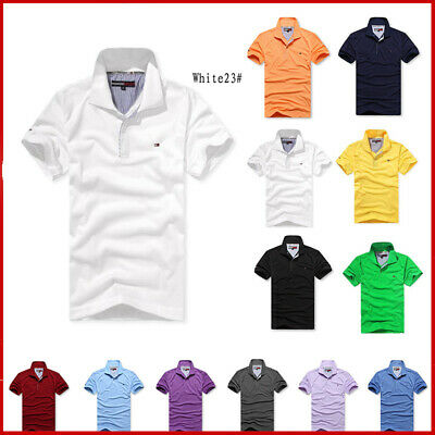 Mens Tommy Slim Fit Polo Shirts Short Sleeve Casual Golf T-Shirt Jersey Tops Tee