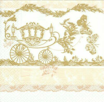 Lot de 3 Serviettes en papier Cocktail Carrosse Mariage Decoupage Decopatch