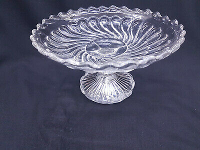 Beautiful Vintage / Retro Pressed Cut Glass Pedestal Swirl Cake Stand Plate