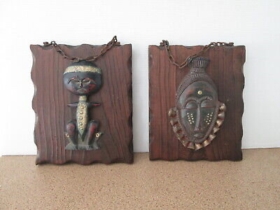Vintage Wall Hanging Chunky Wood Tribal Native Pictures Rusty Chain Hanger