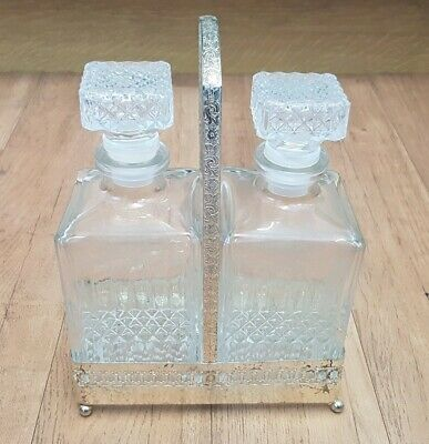 Vintage Metal Double Decanter Holder With A Pair of Glass Decanters Storage