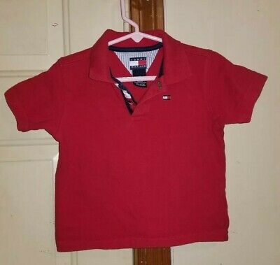 Tommy Hilfiger Boys Toddler Polo Shirt 2T Red Embroidered Tommy Flag Short sleev