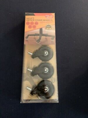 Lifelong Office Chair Casters (5) Replacement Wheels, Rollerblade Style, Black